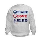 Peace Love Sled - Snowmobiler Kids Sweatshirt