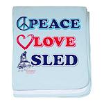 Peace Love Sled - Snowmobiler baby blanket