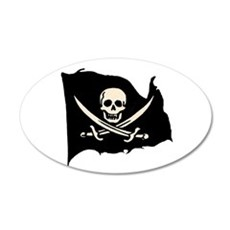 Calico Jack Pirate Flag 20x12 Oval Wall Peel