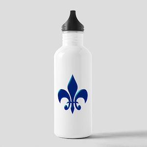NOLA Blue Metallic Fleur Stainless Water Bottle 1.