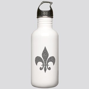 Hammered Silver NOLA Fleur Stainless Water Bottle