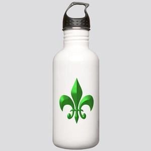 NOLA Green Metallic Fleur Stainless Water Bottle 1