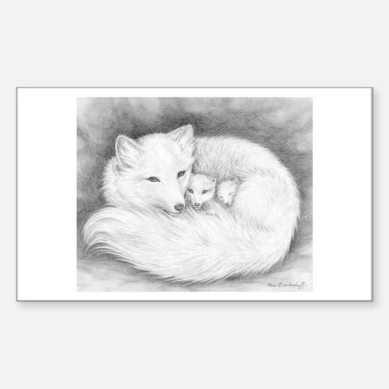 Arctic Fox Family ~ Sticker (Rectangle)