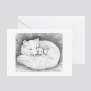 Arctic Fox Family ~ Blank~greeting Greeting Cards