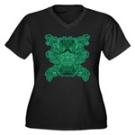 Jade Skull Women's Plus Size V-Neck Dark T-Shirt