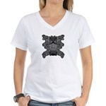Black & White Skull Women's V-Neck T-Shirt