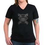 Black & White Skull Women's V-Neck Dark T-Shir