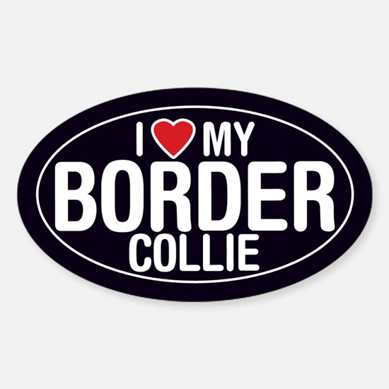 I Love My Border Collie Sticker/Decal (Oval)