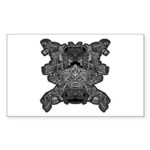 Black & White Skull Sticker (Rectangle 10 pk)