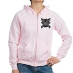 Black & White Skull Women's Zip Hoodie