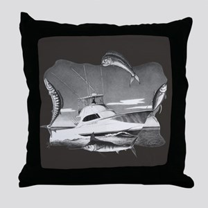 Sportfishing B & W Throw Pillow
