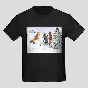 Hockey Dachsies Kids Dark T-Shirt