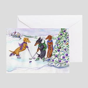 Ice Hockey Dachsies Greeting Card