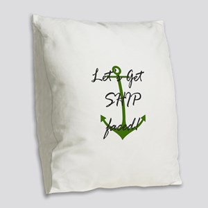 Let's Get Ship Faced Burlap Throw Pillow
