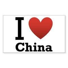 I Love China Sticker (Rectangle 50 pk)