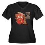 Can 'O Whoop Ass Women's Plus Size V-Neck Dark T-S
