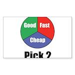 Good, Fast, Cheap Sticker (Rectangle 10 pk)