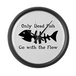 Only Dead Fish Large Wall Clock