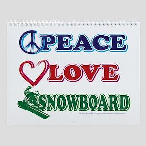 Peace Love Snow Boarders Wall Calendar
