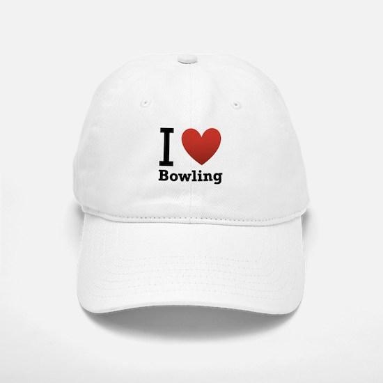 I Love Bowling Baseball Baseball Cap