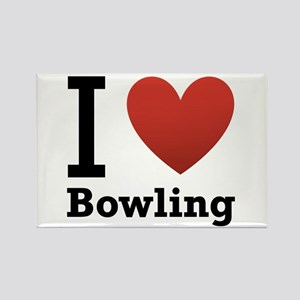 I Love Bowling Rectangle Magnet