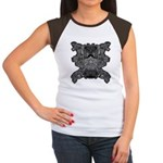 Black & White Skull Women's Cap Sleeve T-Shirt