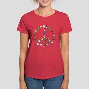 Christmas Peace Sign Women's Dark T-Shirt