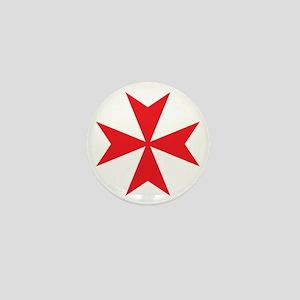 Red Maltese Cross Mini Button