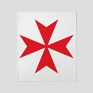 Red Maltese Cross Throw Blanket