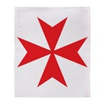 Red Maltese Cross Throw Blanket