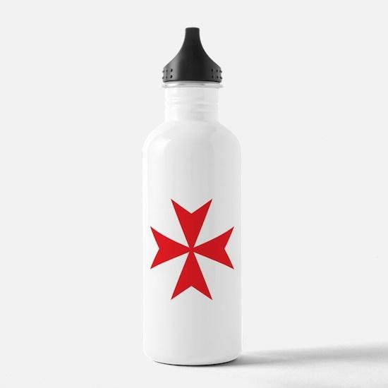 Red Maltese Cross Water Bottle