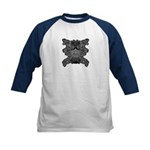 Black & White Skull Kids Baseball Jersey