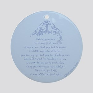 Love at First Sight Newborn Boy Ornament (Round)
