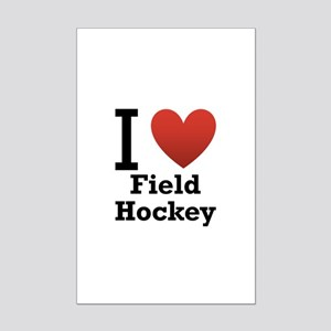 I Love Field Hockey Mini Poster Print