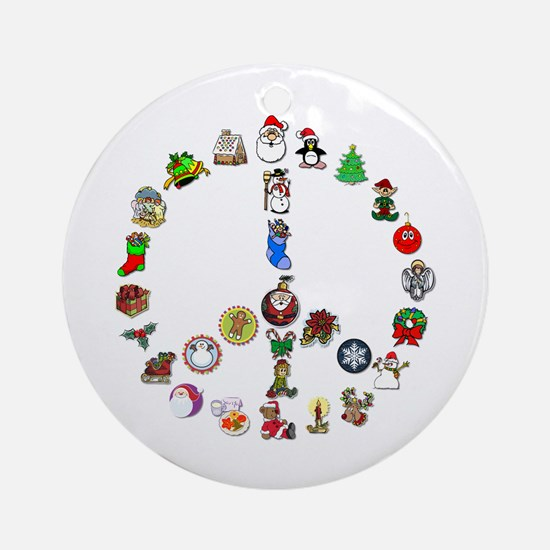 Christmas Peace Sign Ornament (Round)