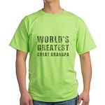 World's Greatest Great Grandpa (Grunge) Green T-Sh