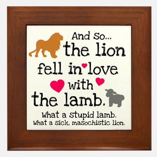 Lion & Lamb Framed Tile