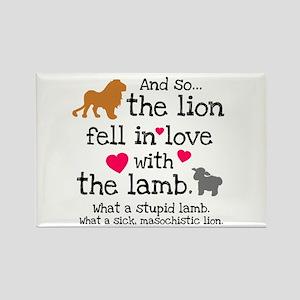 Lion & Lamb Rectangle Magnet