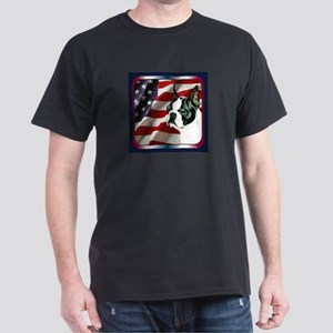 Boston Terrier Patriotic USA Flag Black T-Shirt