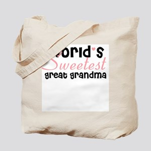World's sweetest great grandm Tote Bag