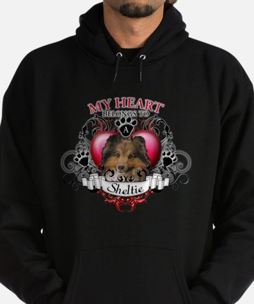 My Heart Belongs to a Sheltie Hoodie (dark)