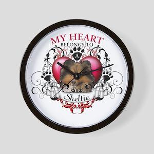 My Heart Belongs to a Sheltie Wall Clock