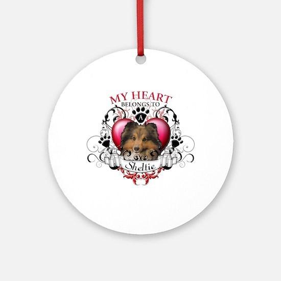 My Heart Belongs to a Sheltie Ornament (Round)