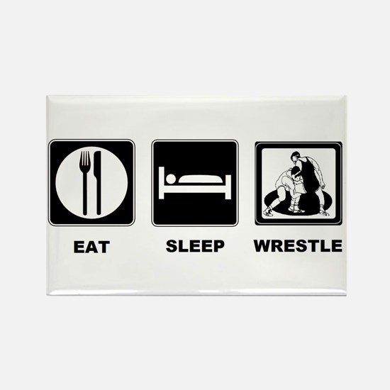 Eat Sleep Wrestle Rectangle Magnet