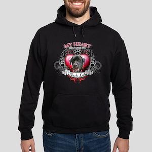 My Heart Belongs to a Black Lab Hoodie (dark)