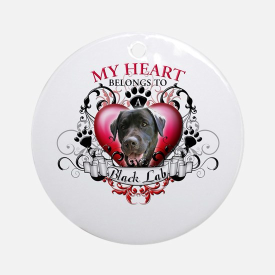 My Heart Belongs to a Black Lab Ornament (Round)
