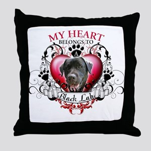 My Heart Belongs to a Black Lab Throw Pillow