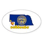 ILY Nebraska Sticker (Oval 10 pk)