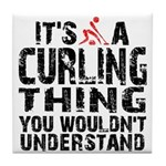 Curling Thing Tile Coaster