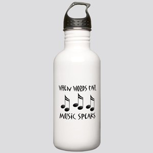 Words Fail Music Speaks Stainless Water Bottle 1.0